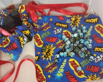 Drawstring Dice Bag w/ play area - Marvel Chibis