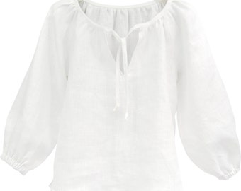 White Linen Top with 3/4 Sleeves