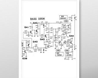 Roland 808 Kick Drum Schematic A4 Print