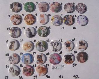 Kittens and Puppies Buttons Set of 30