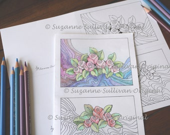 Printable Note Cards, Coloring Page, Set of 2 DYI Note Cards, Adult Coloring, Blank Note Cards, Note Cards to Color