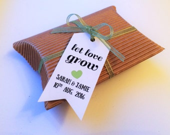 Let Love Grow - 35x Wedding Bridal Shower Personalized Favour Tags