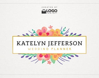 Floral Logo - Watercolor Logo - Shop Logo - Premade Logo - Modern Logo - Text Logo - Customizable / 012