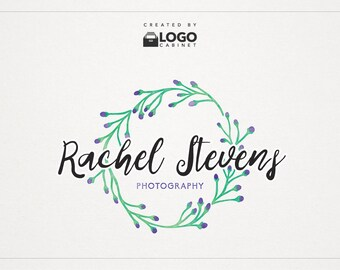 Floral Logo - Watercolor Logo - Shop Logo - Premade Logo - Modern Logo - Text Logo - Customizable / 013