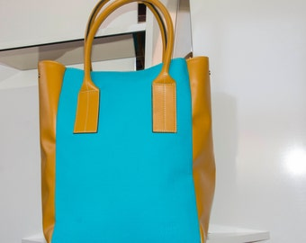 Turquoise Canvas Summer Tote Oversize Beach Tote Turquoise Canvas Handbag Vegan