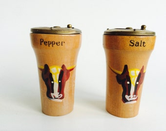Vintage Wood Salt & Pepper Shakers