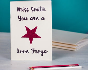 Personalised Teacher's Notebook, You Are A Star Notebook, Teacher's Thank You Gift, Personalised Teacher Gifts