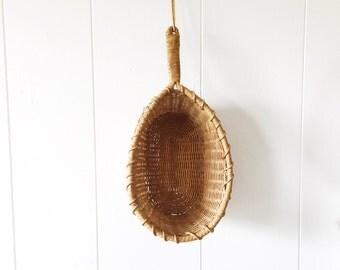 Vintage Boho Handled Basket with Leather Strap