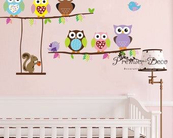 Colourful owl / Bird/ Squirrel Nursery Baby Girl Boy's Bedroom Removable Wall Sticker Decal Mural Wall Art