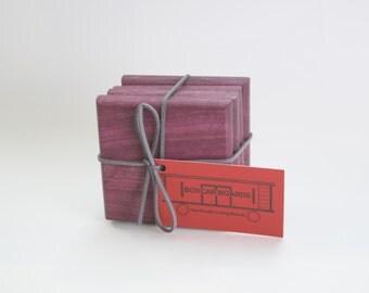 4 Handmade Purple Heart Coasters End-Grain
