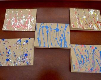 Paint Splatter Blank Note Cards with Envelopes