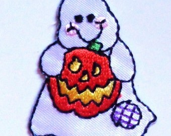 ghost with pumpkin iron on patch
