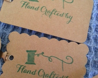 "Hand stamped ""crafted by ....""tags"