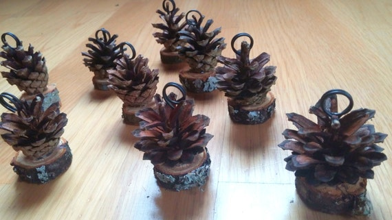 10 pcs pine cone place card holders rustic woodland number holder name card holder table number stand rustic wedding decor