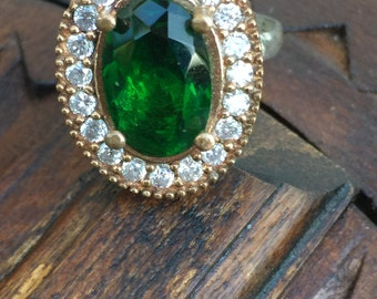 Vintage Turkish 925 Sterling Silver and Cultured Emerald Ring Size 6, Hurrem Sultan Ring