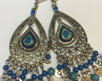 Blue Chandelier Dangle Earrings, Gypsy Dangle Earrings