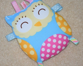 Taggie, Taggie Owl, Taggie Toy, Baby Shower Gift, Baby Girl Gift,  Blue Fabric with Pink and Orange Spots