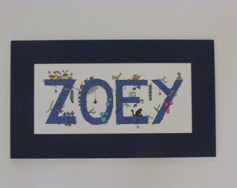 "Whimsical ""I Spy"" kid's names. Navy blue ""Zoey."" 16.5""x9.5"""