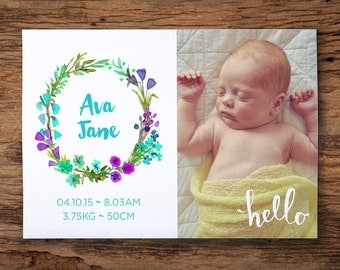 Printable birth announcement - watercolour wreath // custom personalised design // girl // 6x4inch