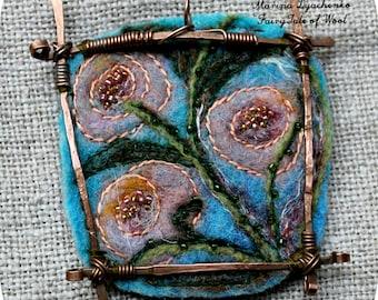 Felt pendant, Felt necklace, Felt accessory, The landscape pendant Pink flowers, Unique design, Boho, Hand-made, Gift for her