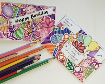 Adult Coloring Book Page Birthday Card and Matching Envelope printable digital download