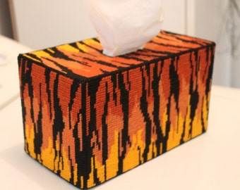TIGER PRINT Tapestry Tissue Box Cover - Full Size