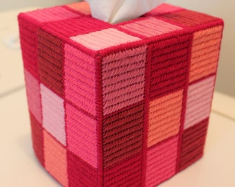 Tapestry 'Shades of Pink' Rubik's Cube Tissue Box - Unique OOAK