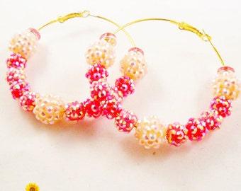 PINK OD - Spring Bling Pink Hoop Earrings - 2.5in - Basketball Wives Style