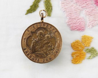 Large Vintage St. Joseph and Our Lady of the Rock Catholic Medal