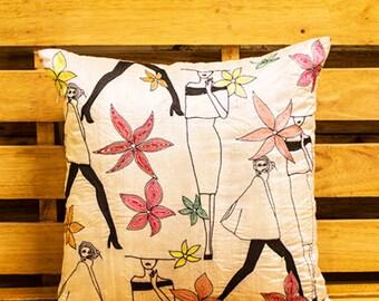 illustrated thread work cushion cover