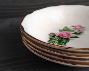 Four small vintage ceramic plates - white Ceramic Plate - Saucers with pink flowers - Vintage flower plates - Orange Retro