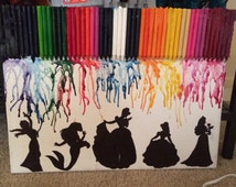 Disney Princess Silhouette Melted Crayon Canvas