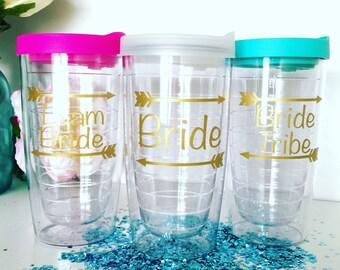 Bride Tribe Tumbler, Bachelorette Party Cups, Bridal Party Gifts, Bridesmaid Cups, monogram tumbler, gold foil tumbler, Team Bride Tumbler