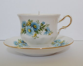 Blue & Yellow Daisy Vintage Teacup Candle