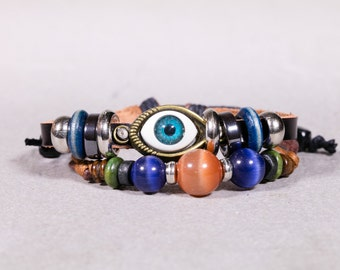 Leather with evil eye and peach bead bracelet-  Unisex Bracelet- Leather bracelet-  LB37