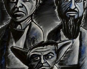 Bush, Blair, Bin Laden Star Wars spoof original Outsider Art acrylic painting