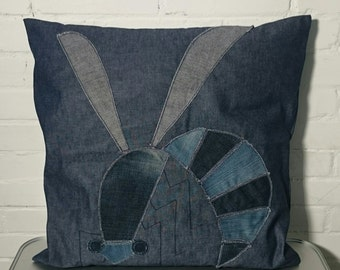 Pillow cover, denim and vintage denim, cotton pillow with 'wasp', 20x20 inch, 50x50 cm