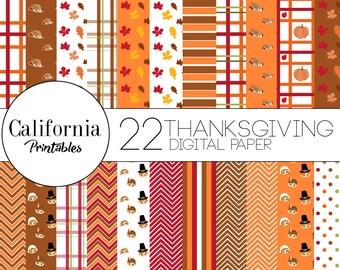 Thanksgiving Digital Paper Set - Set of 22 - Thanksgiivng Pattern - Thanksgiving - Digital paper - Scrapbook