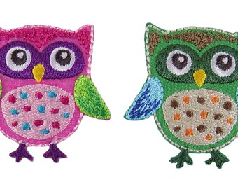 Owls with Polka Dots Embroidered Iron On Applique Pack of 2