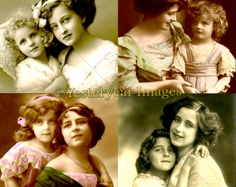 Vintage MOTHER and CHILD Photos - Digital Images Collage Sheets - Instant Download - 3 PNG Files 4x4 - 2x2 - 1x1