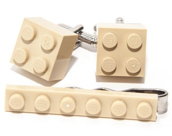 Cream Lego Brick Cufflinks and Lego Plate Tie Clip  Handmade Cuff links