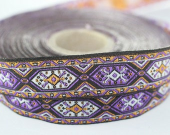 35 mm Purple Woven Jacquard ribbon (1.37 inches) - jacquard trim - Decorative Craft Ribbon - Sewing trim - woven trim - embroidered ribbon