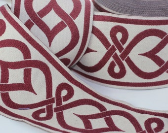 50 mm Red Aztec Jacquard trim (1.96 inches) - vintage Ribbon -  Decorative Craft Ribbon - Sewing - Jacquard ribbon - Trim