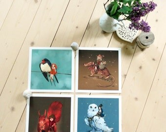 The four seasons - Lot of 4 prints, spring, summer, fall, winter
