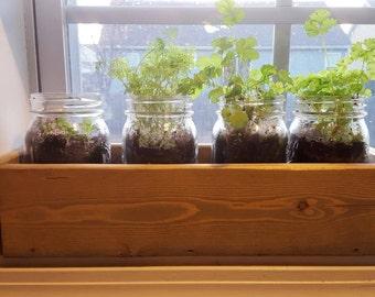 Window Planter box, Window herb garden, window box, Window planter, herb garden, mason jar window planter