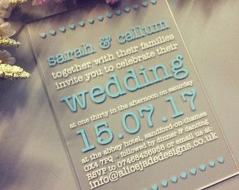 Sweethearts Acrylic Printed Wedding Invitations Invites Pack of 10