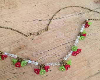 Red and green baby bells vintage style necklace