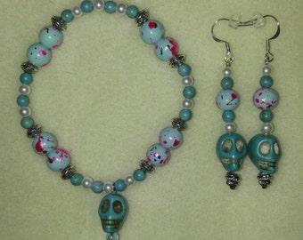 Turquoise Skull Bracelet and Earring Set