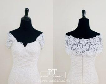 Detachable Off Shoulder Shrug For Wedding Dress #45, Off Shoulder Bridal Cape Dress, Detachable Wedding Shrug, Bridal Shrug