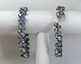 Gray-blue Redbud Bracelet - Swarovski Crystals, Magnetic Clasp
